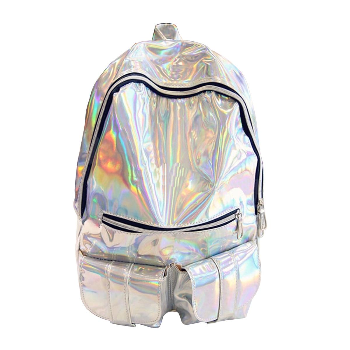 Hot Fashion Cool Women And Men Gammaray Hologram Backpack Shoulder Bag School Travel Bag Colors Lacer Purple Silver Gold
