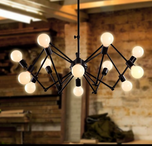 DIY Loft Style Creative Spider Droplight Telescopic Vintage Pendant Light Fixtures For Dining Room Bar Iron Art Hanging Lamp