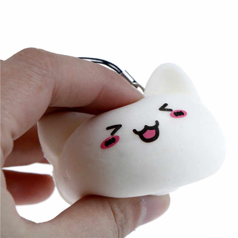 Lembut Meremas Mochi Putih Multi-ekspresi Jamur Kelinci Licin Kawaii Hewan Mainan Anak Hadiah Phone Straps Pendant