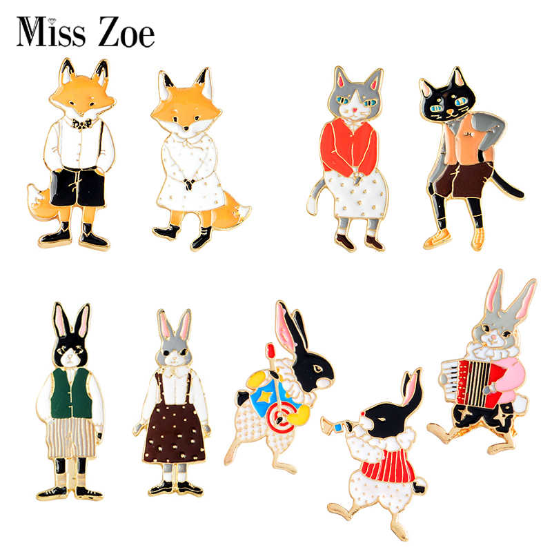 Mr and Miss Cat Rabbit Fox Enamel Pins Animal Brooches Buckle Instrument Player Bunny Badges Lovers Jewelry Gift for couples