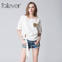 Talever New 2017 Summer Fashion T Shirt Cotton O Neck Short Sleeve Women Tops White Femininas