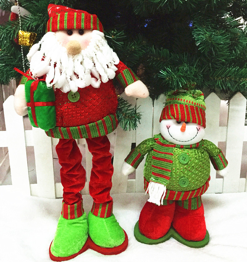 1pair fashion heaven christmas snowman doll santa claus doll christmas ornaments retractable in pendant drop ornaments from home garden on