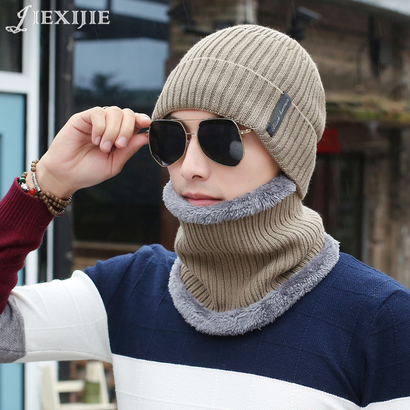 2017 Men Warm Hats Cap Scarf 2016 Winter Wool Hat Knitting for men Caps Lady Beanie Knitted Hats Women's hats Warm Unisex jxj406 2017 new wool grey beanie hat for women warm simple style bad hair day knitting winter wooly hats online ds20170123 x24