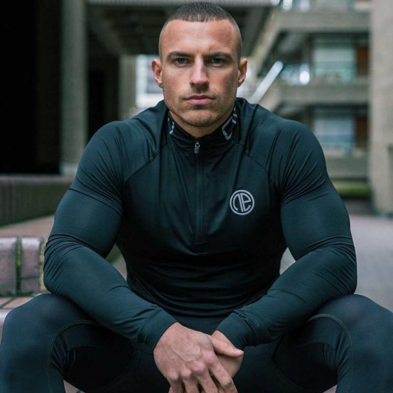 NEW 2019 Quick Dry Compression Shirt Men T-shirt Long Sleeve Compression Shirts Gyms T-shirt Fitness Sport Shirt Men Tops Tee
