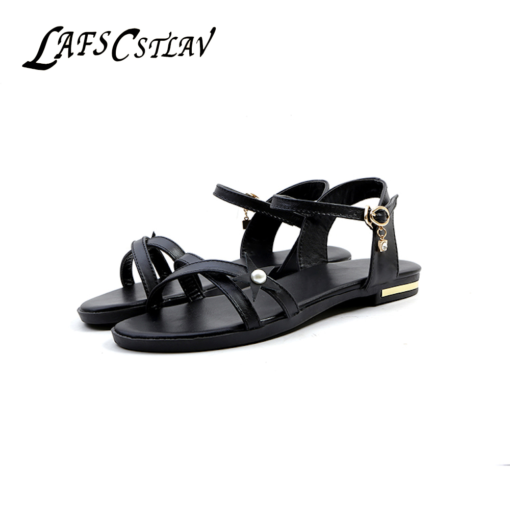 LAFS CSTLAV Elegantne bombažne sandale iz pravega usnja za ženske - Ženski čevlji