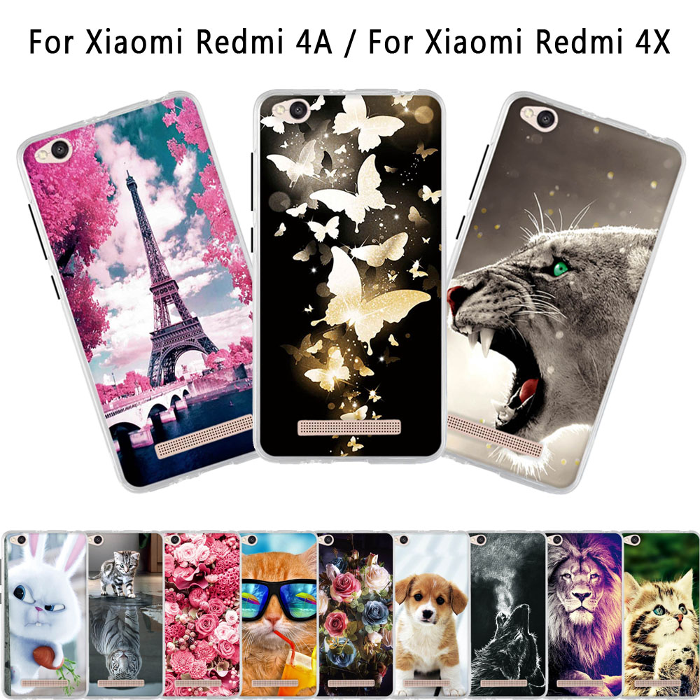 For Xiaomi Redmi 4A 4x Case Soft Silicone Funda Coque For Redmi 4A Back Cover 3D Animal Cute Bags Shell For Redmi 4X Phone Cases