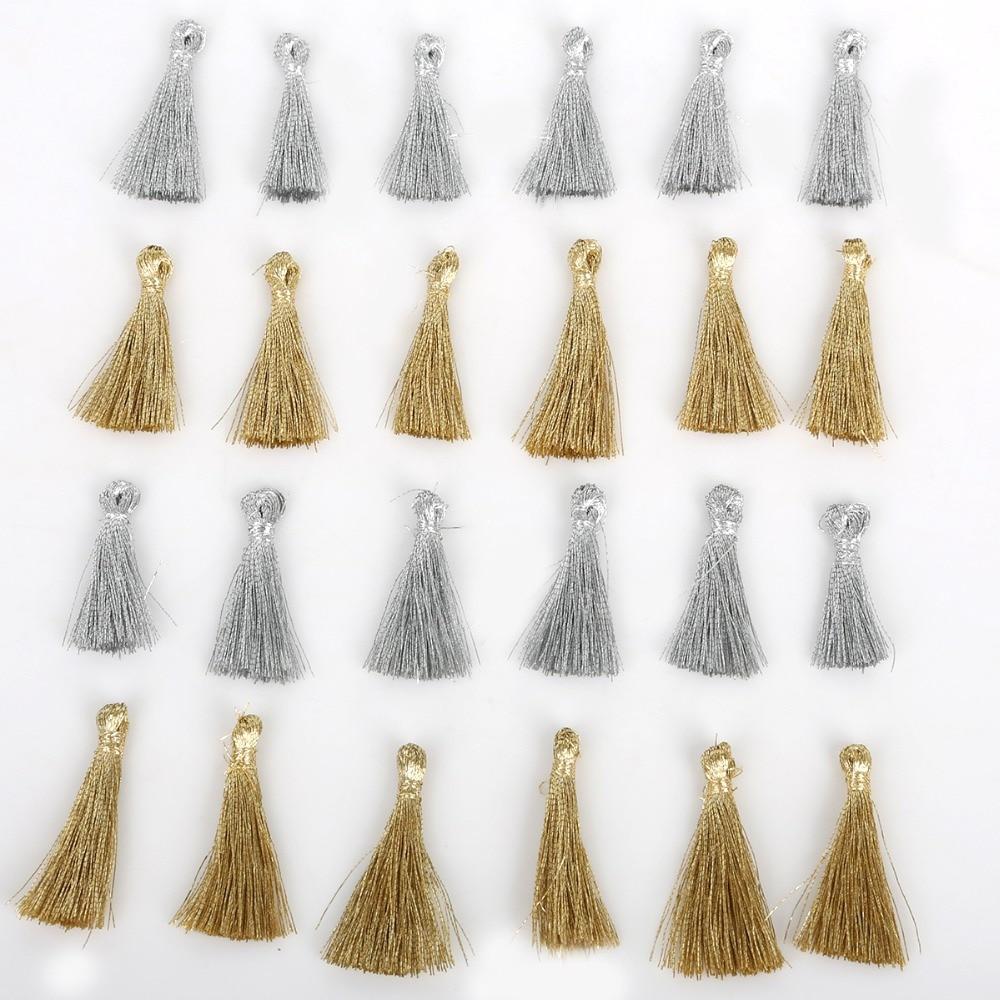 10PC 25MM Mini Gold/Silver Color Tassel DIY Pendant Jewelry Bracelet Key Making Fringe Trim Craft Tassels Sewing Accessories