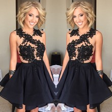 Günstige Appliques Kurze Abendkleider 2015 Schwarze Kurze Abendkleid Kleid Für Partei Über Formale Abendkleid Frauen Kleider