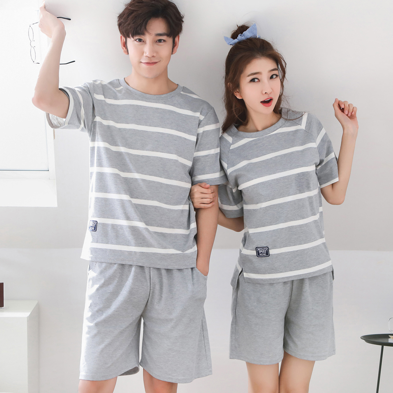 Pajamas For Couples Summer Simple Striped Comfortable Lady\'S Short Sleeve Shorts Cotton Leisure Home Clothes And Nightwear Suit