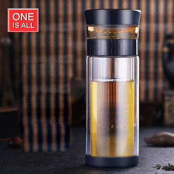 ONEISALL 300ML Double Wall Protect Glass Tea Cup Business Man Drinking Water Bottle with Tea Filter Portable Tea Drinkware & ONEISALL 300ML Double Wall Protect Glass Tea Cup Business Man ...