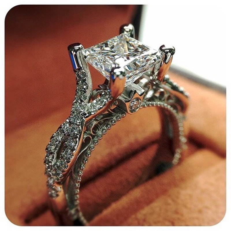 Vintage Princess Ring 925 Sterling Silver AAAAA Cz Hollow Engagement Promise Wedding Band Rings For Women Bridal Party Jewelry