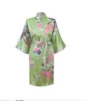 Promotion Green Chinese Women S Silk Rayon Bathrobe Yukata Gown Flower Peacock Pattern Nightgown Size S