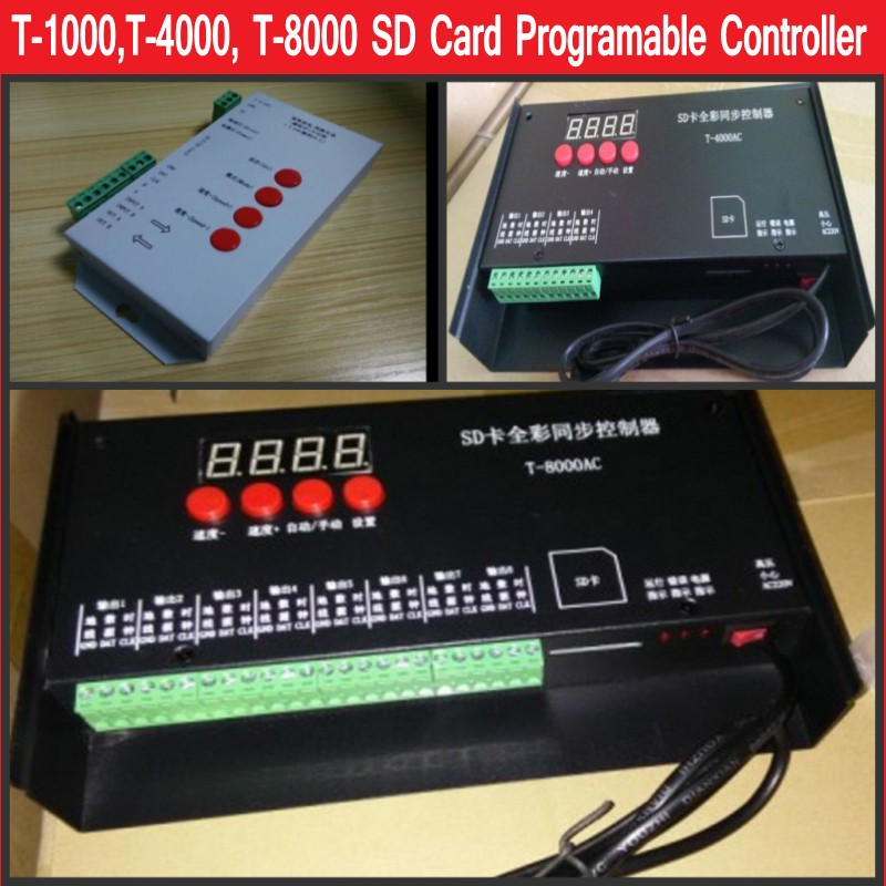 T-1000 T-4000 T-8000 SD-Karte RGB-LED-Controller WS2801 WS2811 SK6812 WS2812B LPD6803 Programmierbarer Pixel-Controller