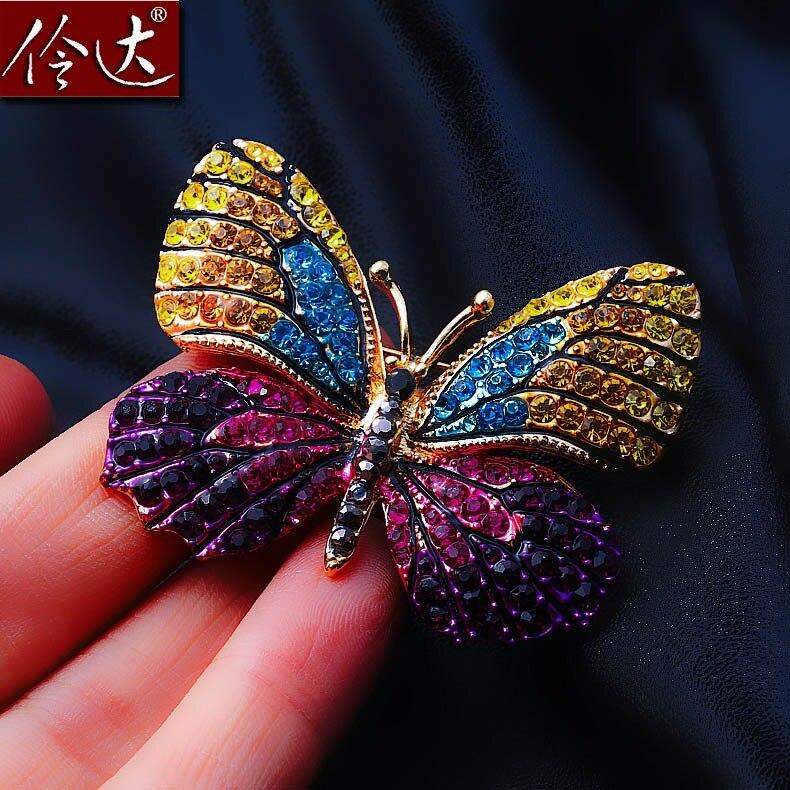 Fashion ladies temperament Rhinestone Butterfly Brooch Brooch Pin Linda Dielian Europe retro jewelry