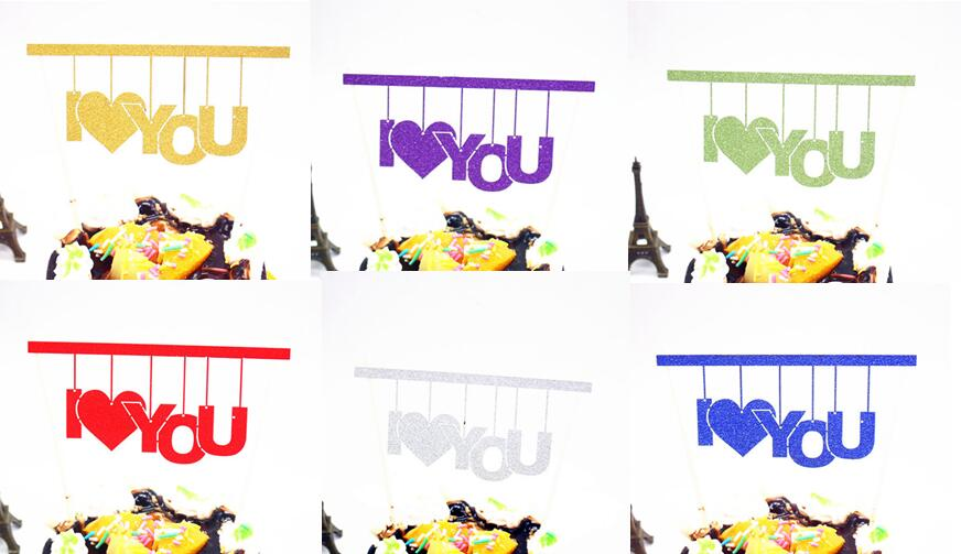 1pc Single Stick Love Cake Flag Topper Multi Colors I Love You Flags For Wedding Birthday Party Cake Baking Decoration
