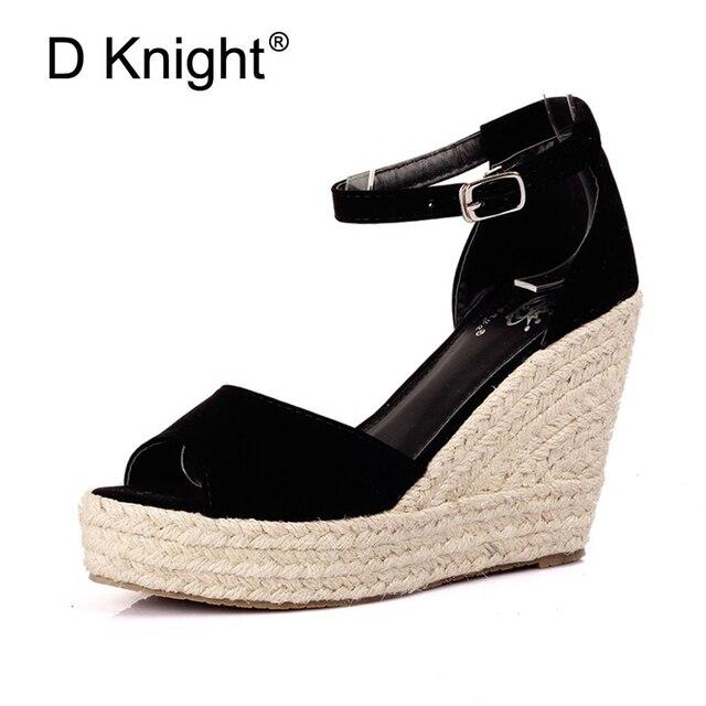2018 Elegant Mode femme Bout Ouvert Paille Tresse Sandales Compensées  Velours Plateforme Compensée Chaussures D  8db4c91e7578