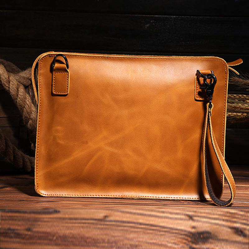 2016 High Quality Genuine Leather Cowhide Men Vintage Messenger Shoulder Cross Body Tablet PC Business Briefcase Hand Bag