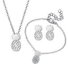 Silver 3pc/set Pineapple Fruit Necklace Earrings Bracelet Jewelry Sets for Women Jewelry Set цена 2017