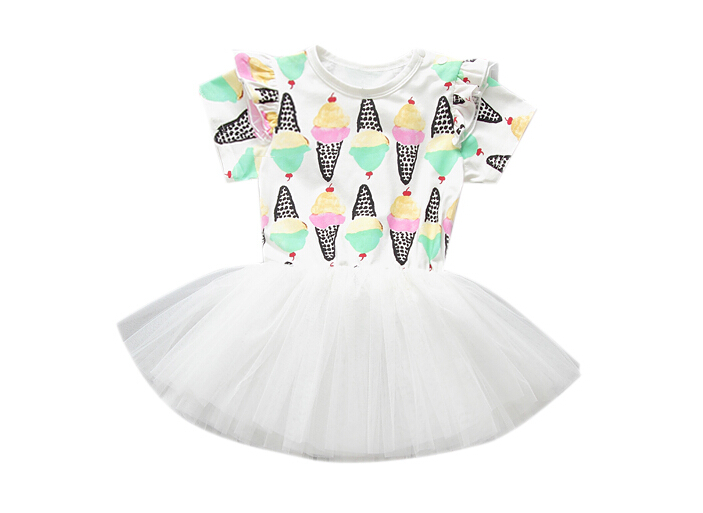 New Arrival Girls Dresses Toddler Baby Girl Newborn Ice Cream Printed Lace Tutu Dress Summer Girls Children Outfits Clothing