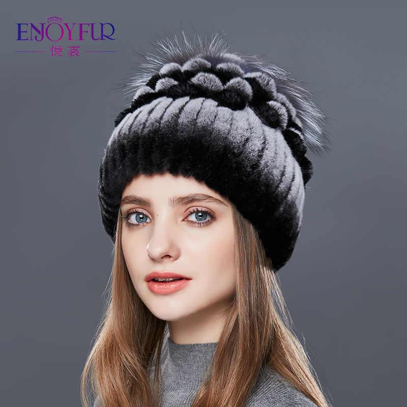 ENJOYFUR Natural Rex conejo sombrero de piel Mujer caliente sombreros de  invierno de las mujeres con 2e7cfd31255