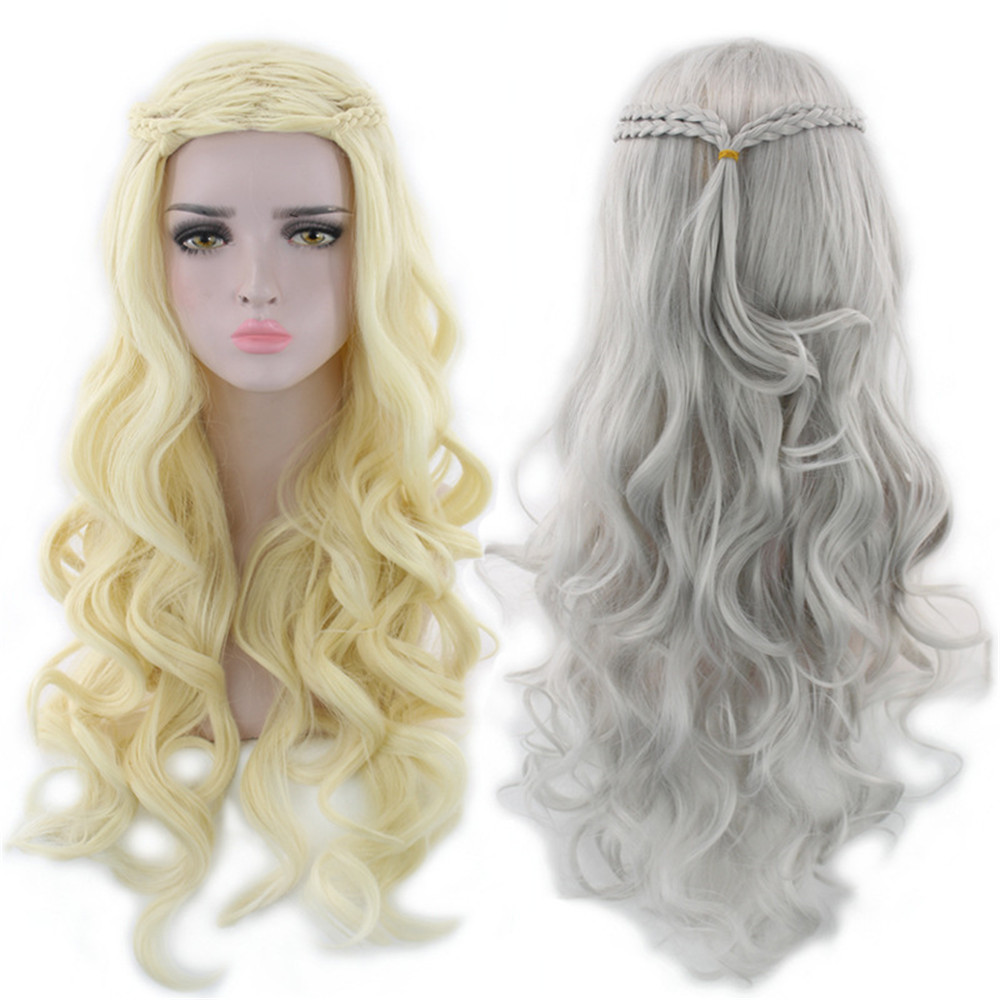 Game Thrones Daenerys Targaryen Cosplay Wig Synthetic Hair Long Wavy Dragon of Mother Wigs Halloween Party Costume for Women