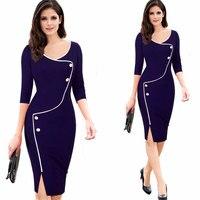 2016 New Autumn Office Dress Solid Midi Dress OL Elegant Lady Bodycon Winter Dress Pencil Women