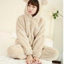 2018 Autumn Women Flannel Pajamas Set Coral Fleece Bear Hooded Pajamas Sleepwear Thickened Warm Pajamas Set