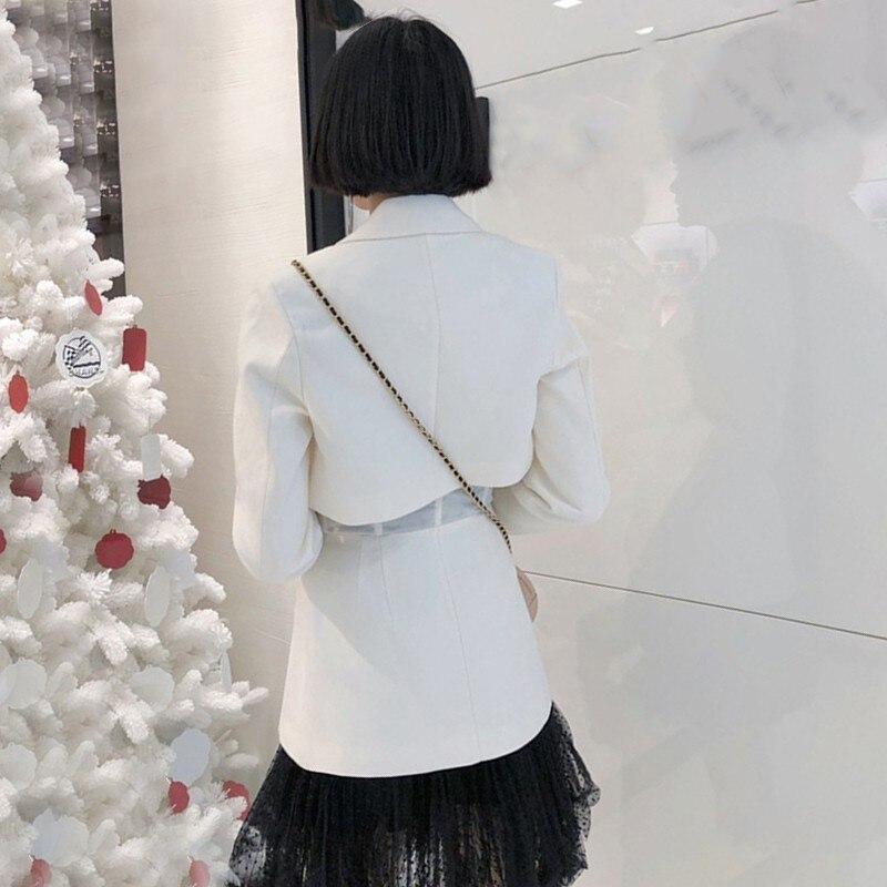 TWOTWINSTYLE Casual Blazer sólido mujer solapa de manga larga de cintura alta botón Delgado ropa femenina moda 2019 primavera nueva marea-in chaqueta de deporte from Ropa de mujer    2