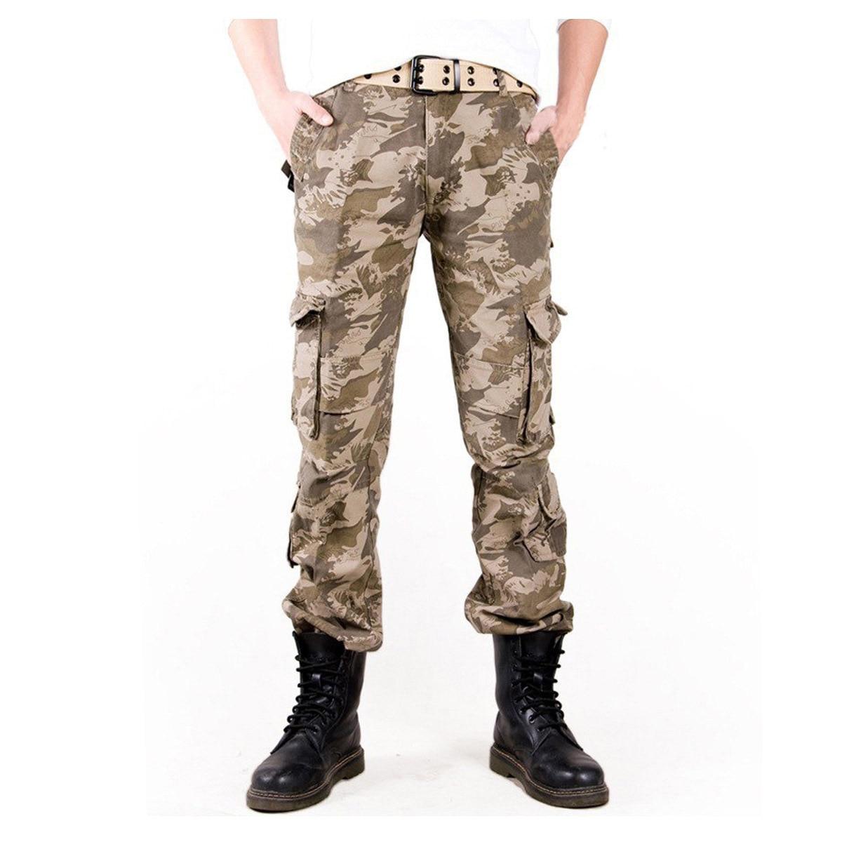 2017 hombre foto Real Outwear hombres pantalones de camuflaje moda Multi bolsillos militar ejército pantalones Joggers Camo Baggy Cargo Pantalones - 3
