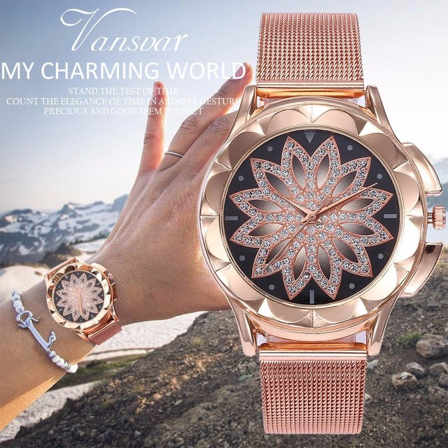 Drop Shipping Fashion Women Rose Gold Flower Rhinestone Wrist Watches Luxury Cas