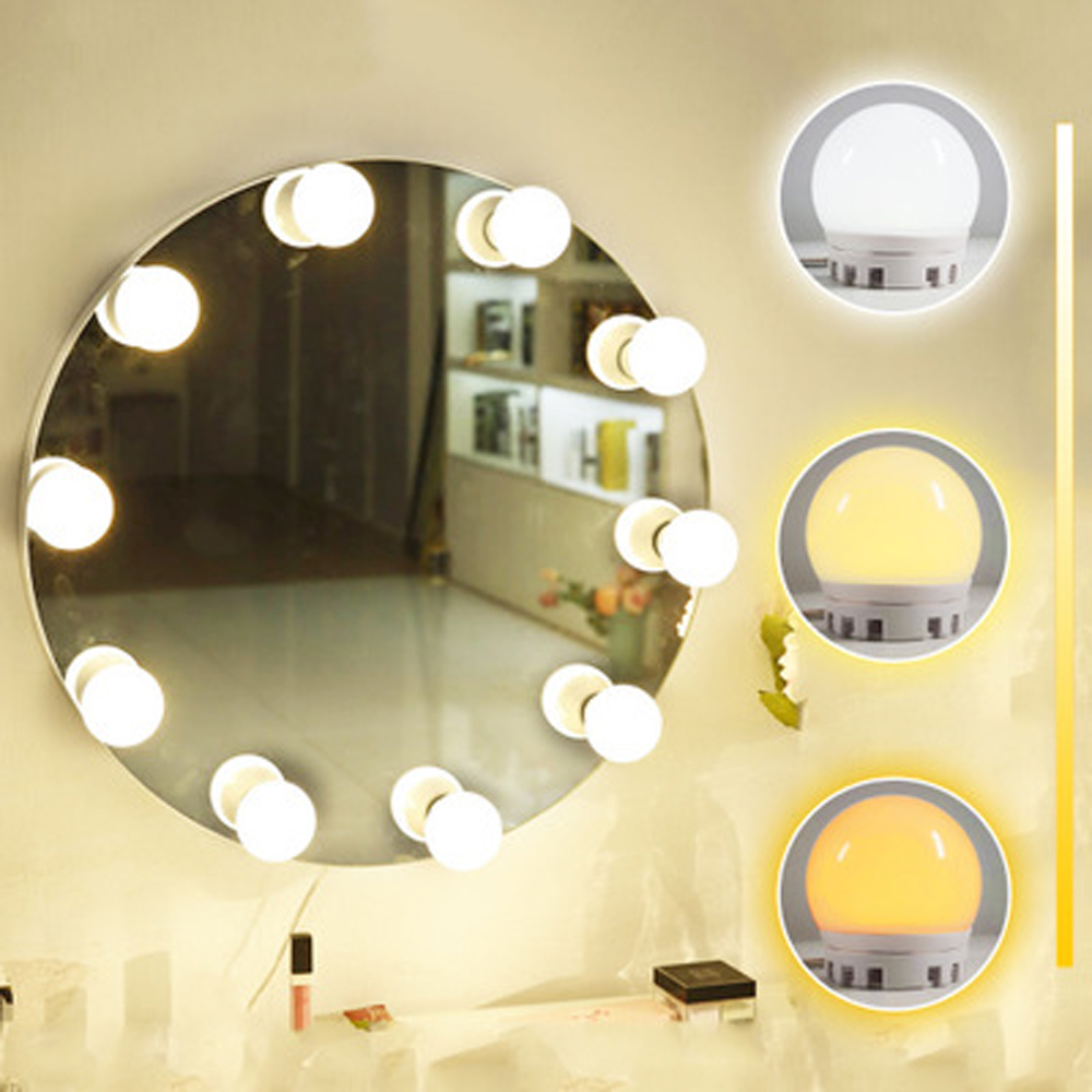 Купить с кэшбэком Hollywood Style Makeup Mirror Vanity LED Light Kit 10 Dimmable Bulbs USB Charging Port Cosmetic Adjustable Brightness Lights