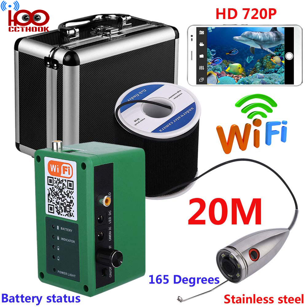 20m Cable HD WIFI Wireless Fish Finder with 1000TVL Underwater Fishing Video Camera with Free Mobile APP Viewing & Recording20m Cable HD WIFI Wireless Fish Finder with 1000TVL Underwater Fishing Video Camera with Free Mobile APP Viewing & Recording