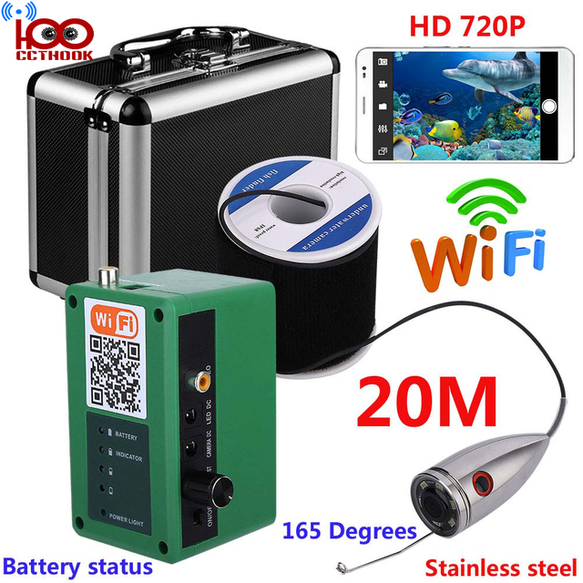 20m Cable HD WIFI Wireless Fish Finder with 1000TVL Underwater Fishing Video Camera with Free Mobile APP Viewing & Recording