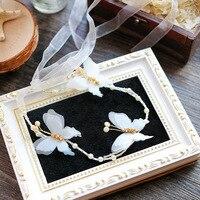 2017 nueva Cinta del hilado de seda blanca mariposa diadema de perlas hairband del ornamento del pelo para novias