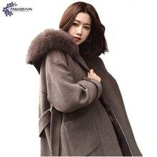 TNLNZHYN NEW Women clothing Woolen cloth coat winter fashion loose Big yards hooded fur collar Thicken warm female coat QQ88