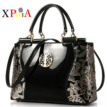 2016 New style Europe fashion sequined chains Luxury patent leather famous brands design versatile tote sac a main women bags