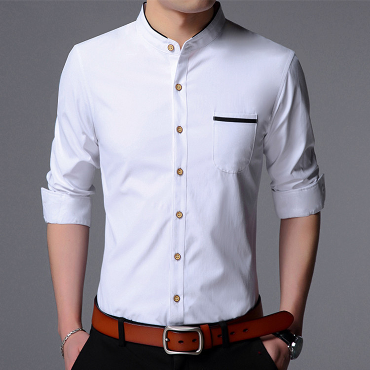 New Arrival 2018 Spring Men Solid Bussiness Slim Shirts Male Classic Casual Long sleeve Top shirts Clothing men BJ68803 S-3XL