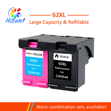 Hisaint 62XL Refilled Ink Cartridge Replacement for HP 62 XL cartridge Envy 5640 OfficeJet 200 5540 5740 5542 7640