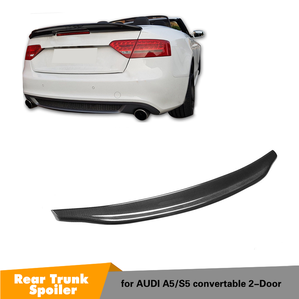 For Audi A5 Base Sline S5 Coupe Convertible 2008 - 2016 Carbon Fiber Rear Trunk Spoiler Wing Lid image