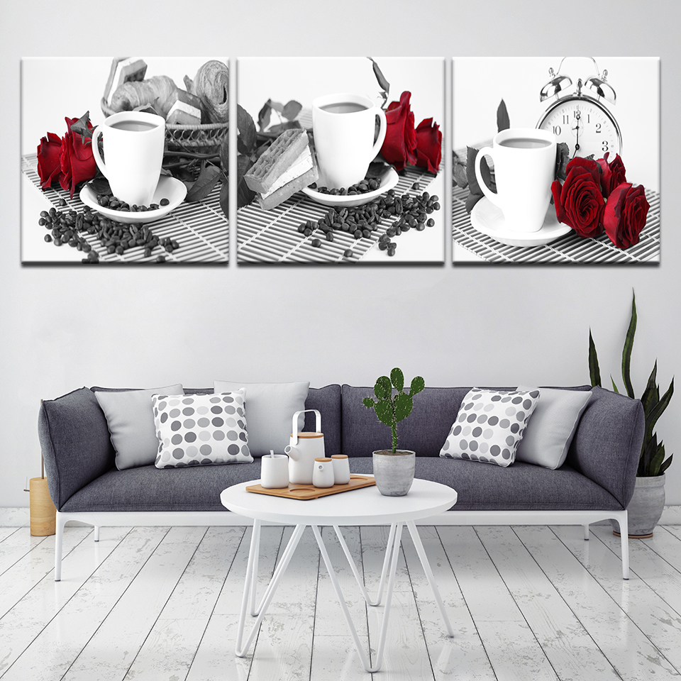 Canvas Wall Art Poster Home Decor 3 Panel Coffee Cup Red