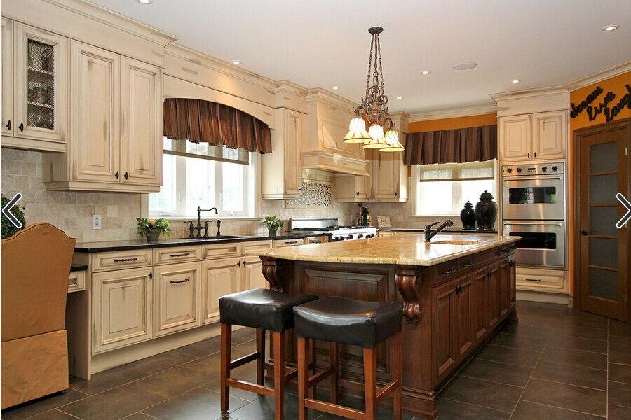 Solid Wood Kitchen Cabinet With Island Design K002 In Kitchen
