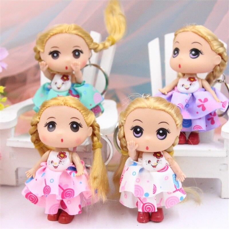 5pcs 9cm fashion baby doll beautiful wedding dress confused dolls small pendant keychain creative Christmas Valentine's Day gift