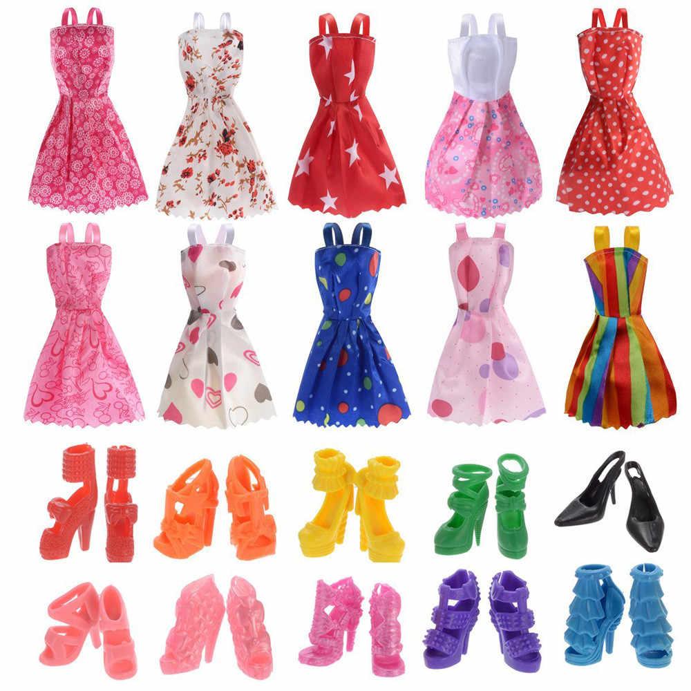 10 шт Кукла Барби Одежда + 10 пар кукла обувь вечерние платье наряды с juguetes educativos Пазлы для детей