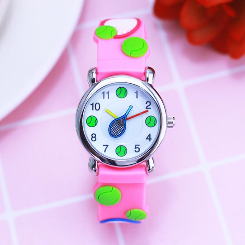 Children Watches Lovely Pink Girls Cartoon Watch 3D Tennis Strap Silicone Bracelet Wristwatch Students Boys Kids Gift