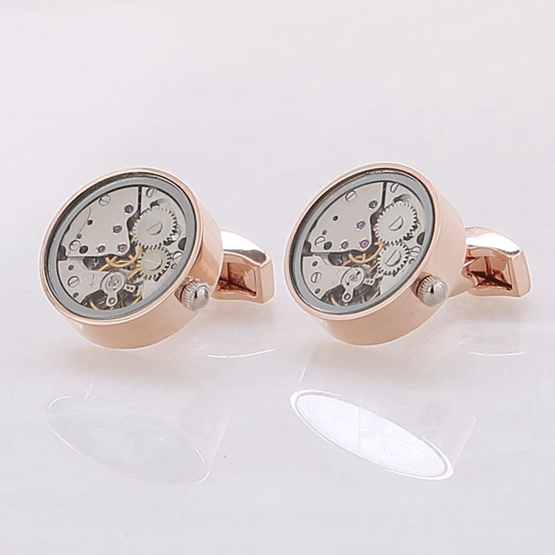 Hot Sale Men Steampunk Gear Watch Cufflinks Non-Functional Watch Movement Cuff links With Glass Stainless Steel Suits Wedding