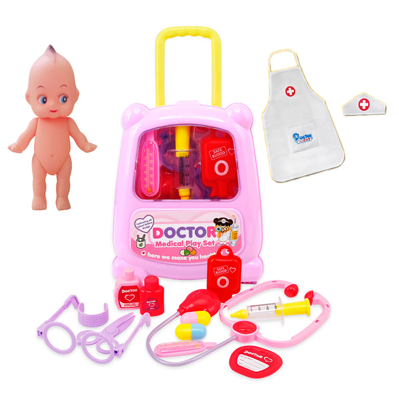 10 pcs/Set piggy bag Doctor Toys Play Set with Sound and light music kids suitcase Toys Medical Simulation Classic Toys ...
