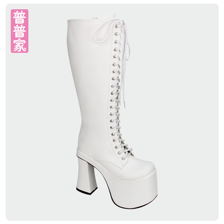 Princess sweet punk shoes Autumn and spring super high heel round head punk cool thick and fashion long tube boots pu8313 princess sweet punk shoes japanese summer and spring round head boots cos anime punk super high heel frill muffin boots pu9712