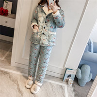 Women Winter Nightgown Printed Animal Thick Flannel Pajamas Set Female Warm Home Wear 3 Layers Cotton Padded Pyjamas Suit L XL