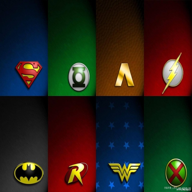 a full set of 5 justice league mortal superhero logo badge pin
