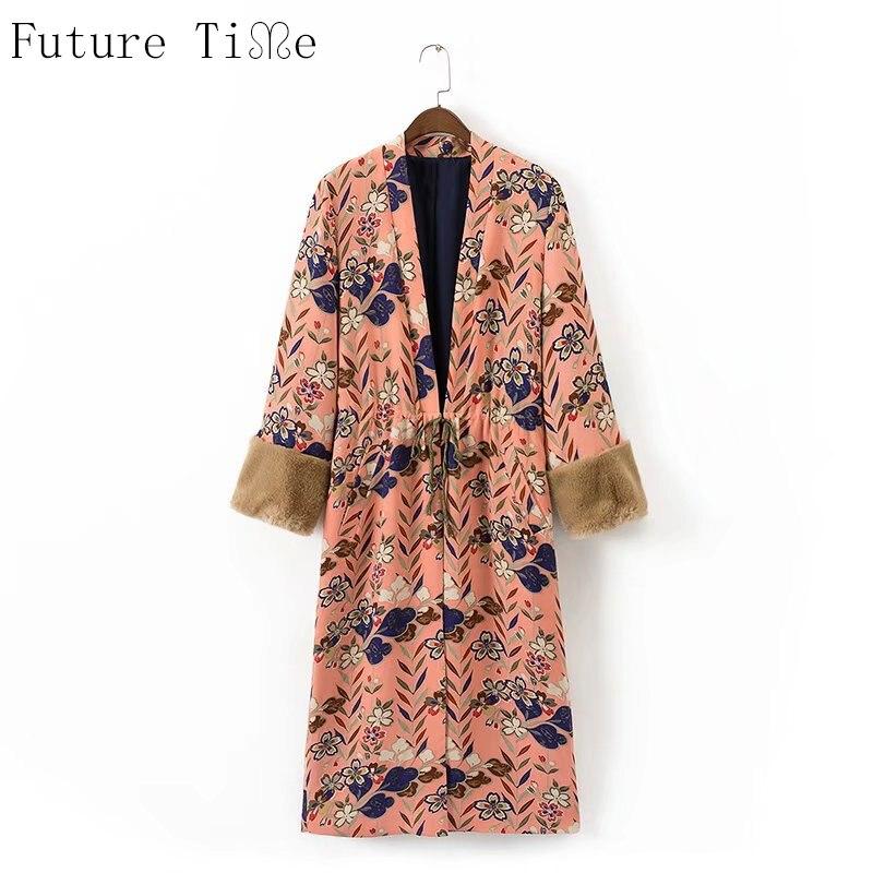 Future Time Women Kimono Cardigan Fake fur Long Sleeve Blouse Flower Printing Open Stitch Shirts Ladies